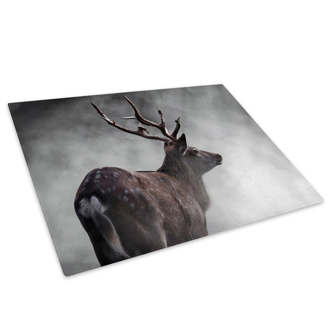 Grey Smoke Fog Stag Deer Glass Chopping Board Kitchen Worktop Saver Protector - A519