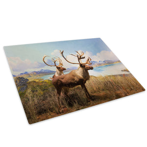 Stags Deer Grass Blue Glass Chopping Board Kitchen Worktop Saver Protector - A520-Animal Chopping Board-WhatsOnYourWall