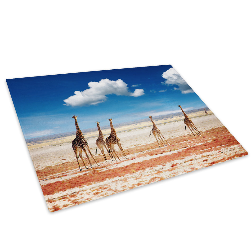 Giraffe Herd Africa Blue Glass Chopping Board Kitchen Worktop Saver Protector - A526-Animal Chopping Board-WhatsOnYourWall