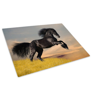 Black Horse Green Grass Glass Chopping Board Kitchen Worktop Saver Protector - A527-Animal Chopping Board-WhatsOnYourWall