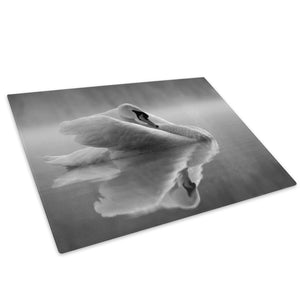 White Swam Grey Black Glass Chopping Board Kitchen Worktop Saver Protector - A529-Animal Chopping Board-WhatsOnYourWall