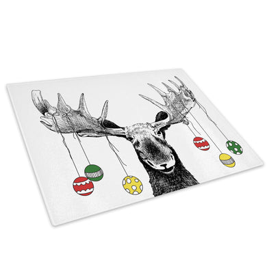 Black Moose Christmas Red Glass Chopping Board Kitchen Worktop Saver Protector - A538-Animal Chopping Board-WhatsOnYourWall