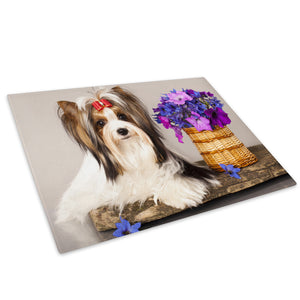 White Maltese Dog Purple Glass Chopping Board Kitchen Worktop Saver Protector - A544