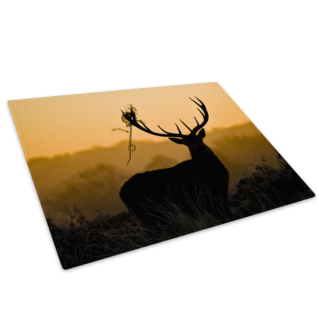 Silhouette Stag  Forest Glass Chopping Board Kitchen Worktop Saver Protector - A549