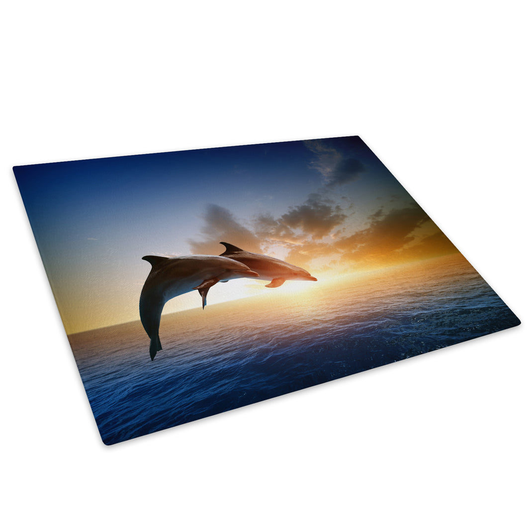 Dolphins Sunset Yellow Sea Glass Chopping Board Kitchen Worktop Saver Protector - A559-Animal Chopping Board-WhatsOnYourWall
