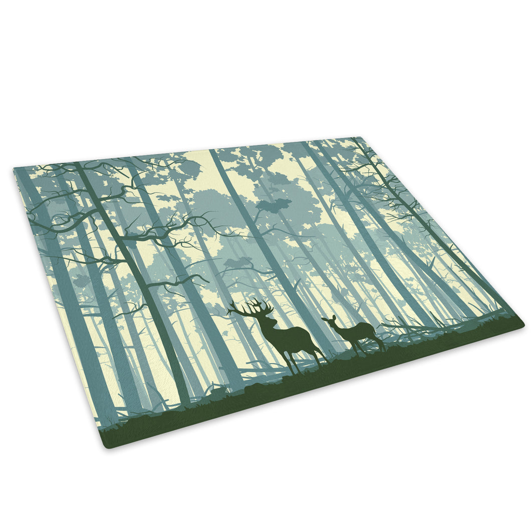 Stag Blue Forest Abstract Glass Chopping Board Kitchen Worktop Saver Protector - A563-Animal Chopping Board-WhatsOnYourWall