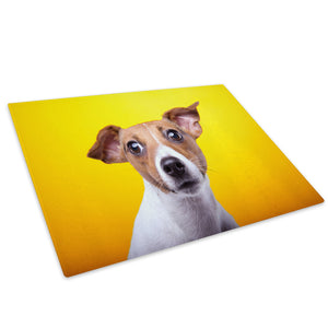 Jack Russell Dog Yellow Glass Chopping Board Kitchen Worktop Saver Protector - A567-Animal Chopping Board-WhatsOnYourWall