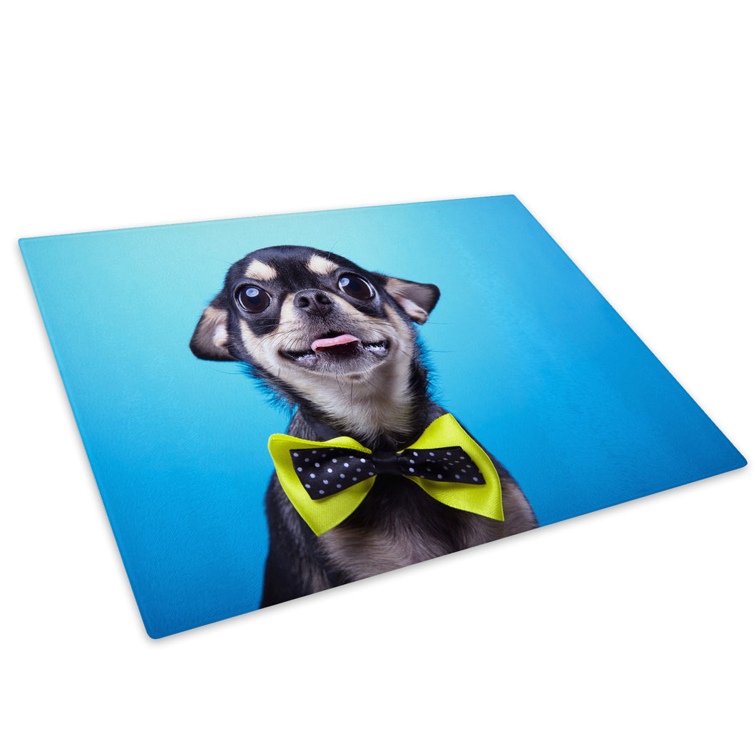 Chihuahua Dog Blue Green Glass Chopping Board Kitchen Worktop Saver Protector - A568