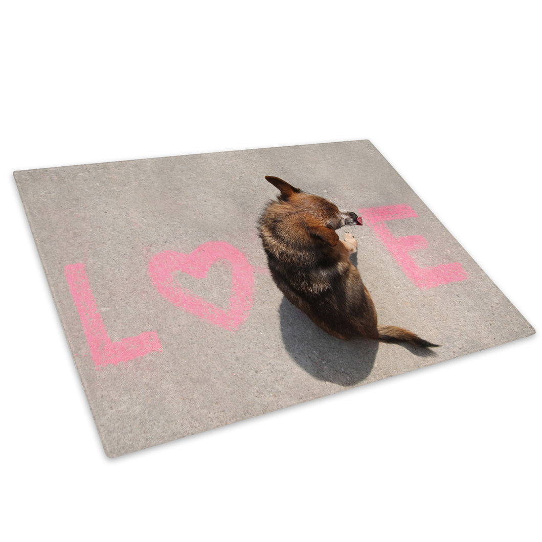 Brown Dog Typography Pink Glass Chopping Board Kitchen Worktop Saver Protector - A579