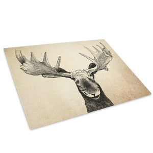Moose Watercolour Black Glass Chopping Board Kitchen Worktop Saver Protector - A580-Animal Chopping Board-WhatsOnYourWall