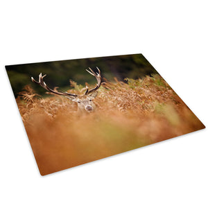Brown Stag Brown Green Glass Chopping Board Kitchen Worktop Saver Protector - A582