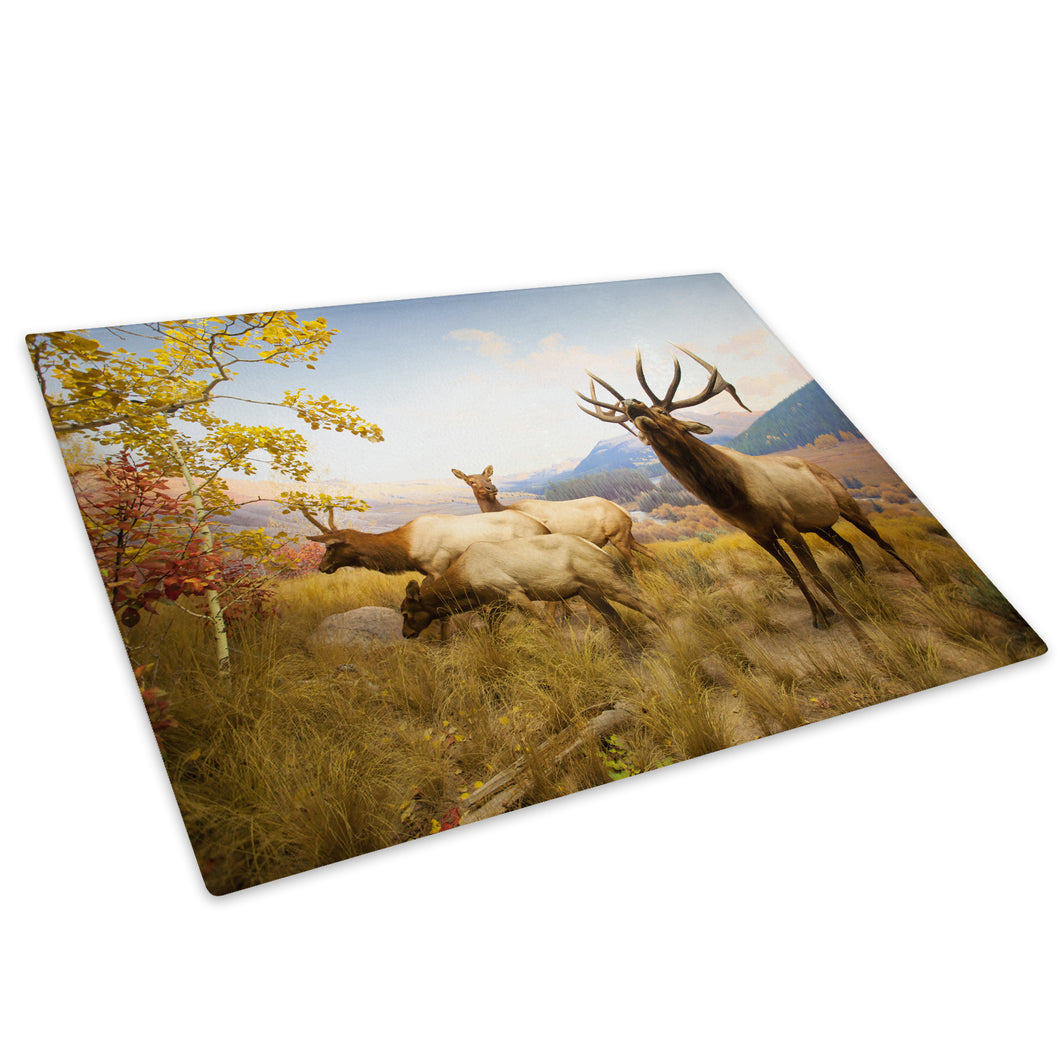 Herd Deer Green Grass Glass Chopping Board Kitchen Worktop Saver Protector - A591-Animal Chopping Board-WhatsOnYourWall