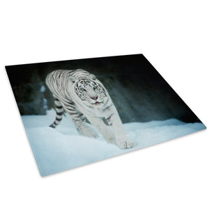 White Tiger Snow Forest Glass Chopping Board Kitchen Worktop Saver Protector - A594