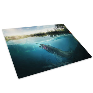 Pond Fishing Blue Green Glass Chopping Board Kitchen Worktop Saver Protector - A599