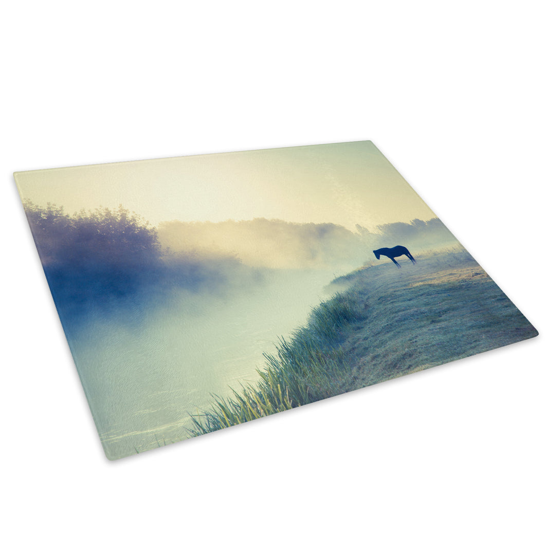 Black River Horse Blue  Glass Chopping Board Kitchen Worktop Saver Protector - A600