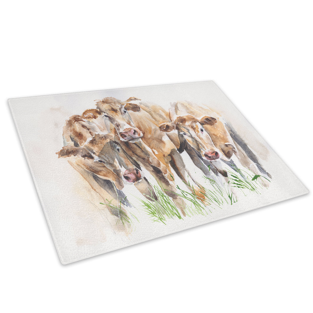 Brown Cow Watercolour Green Glass Chopping Board Kitchen Worktop Saver Protector - A602