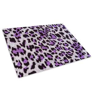 Purple Leopard Pattern Glass Chopping Board Kitchen Worktop Saver Protector - A603-Animal Chopping Board-WhatsOnYourWall
