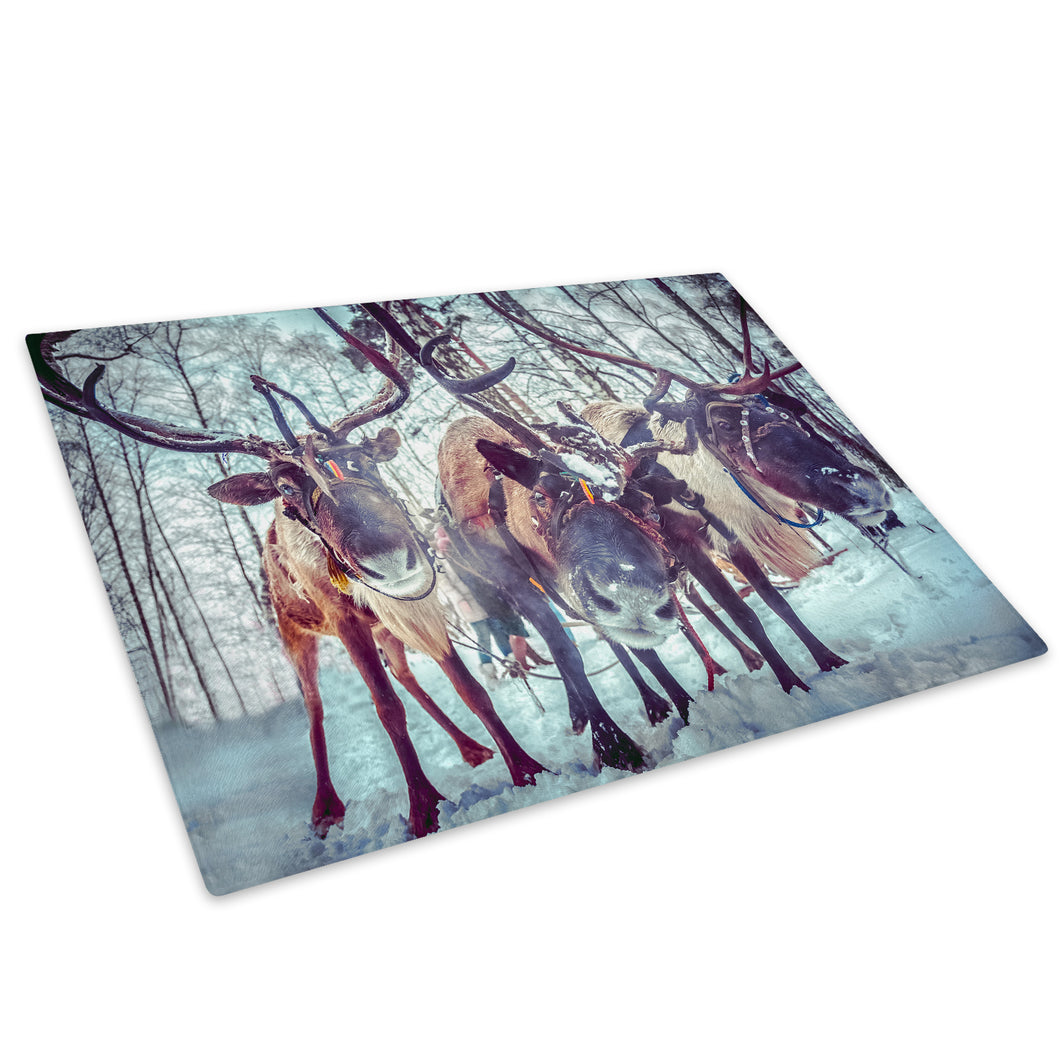 Arctic Forest Reindeer Glass Chopping Board Kitchen Worktop Saver Protector - A604-Animal Chopping Board-WhatsOnYourWall