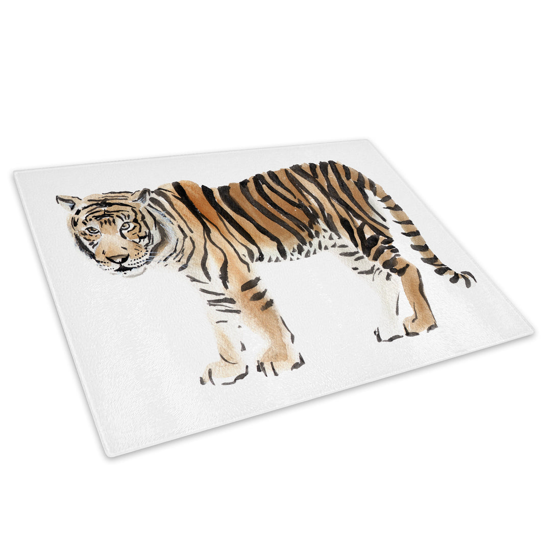 Tiger Watercolour Orange Glass Chopping Board Kitchen Worktop Saver Protector - A608-Animal Chopping Board-WhatsOnYourWall