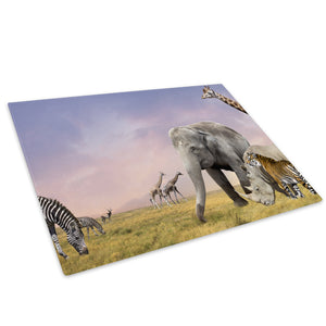 Africa Animals Purple Blue Glass Chopping Board Kitchen Worktop Saver Protector - A609-Animal Chopping Board-WhatsOnYourWall