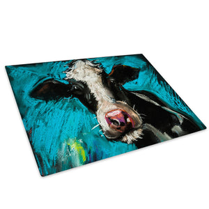 Farm Cow Blue Black White Glass Chopping Board Kitchen Worktop Saver Protector - A614