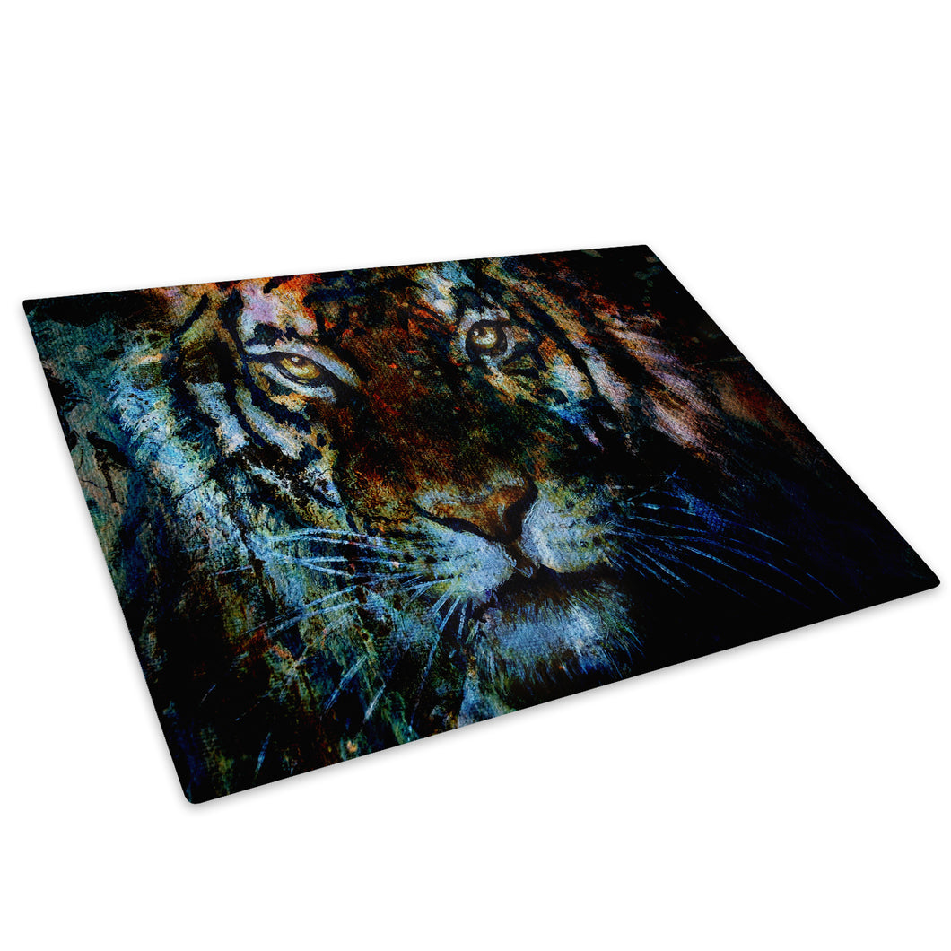 Tiger Orange Blue Pink Glass Chopping Board Kitchen Worktop Saver Protector - A616-Animal Chopping Board-WhatsOnYourWall