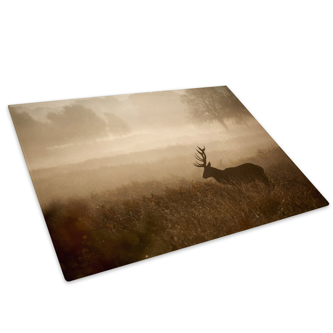 Mist Forest Fog Stag Dusk Glass Chopping Board Kitchen Worktop Saver Protector - A619-Animal Chopping Board-WhatsOnYourWall