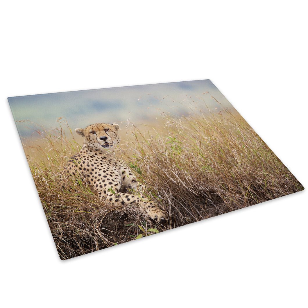 Cheetah Grass Yellow Green Glass Chopping Board Kitchen Worktop Saver Protector - A621-Animal Chopping Board-WhatsOnYourWall
