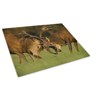 Stags Grass Green Brown Glass Chopping Board Kitchen Worktop Saver Protector - A624-Animal Chopping Board-WhatsOnYourWall