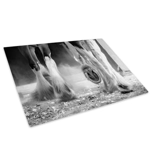Black White Horse Grey Glass Chopping Board Kitchen Worktop Saver Protector - A625