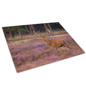 Pink Grass Brown Stag Deer Glass Chopping Board Kitchen Worktop Saver Protector - A631-Animal Chopping Board-WhatsOnYourWall