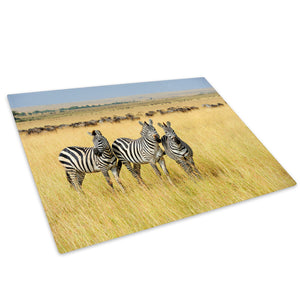 Africa Zebra Yellow Grass Glass Chopping Board Kitchen Worktop Saver Protector - A634-Animal Chopping Board-WhatsOnYourWall