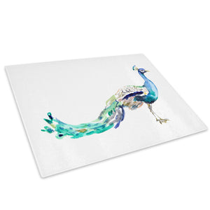 Blue Teal Peacock Purple Glass Chopping Board Kitchen Worktop Saver Protector - A635-Animal Chopping Board-WhatsOnYourWall