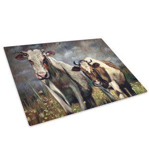 Brown White Green Cows Glass Chopping Board Kitchen Worktop Saver Protector - A648