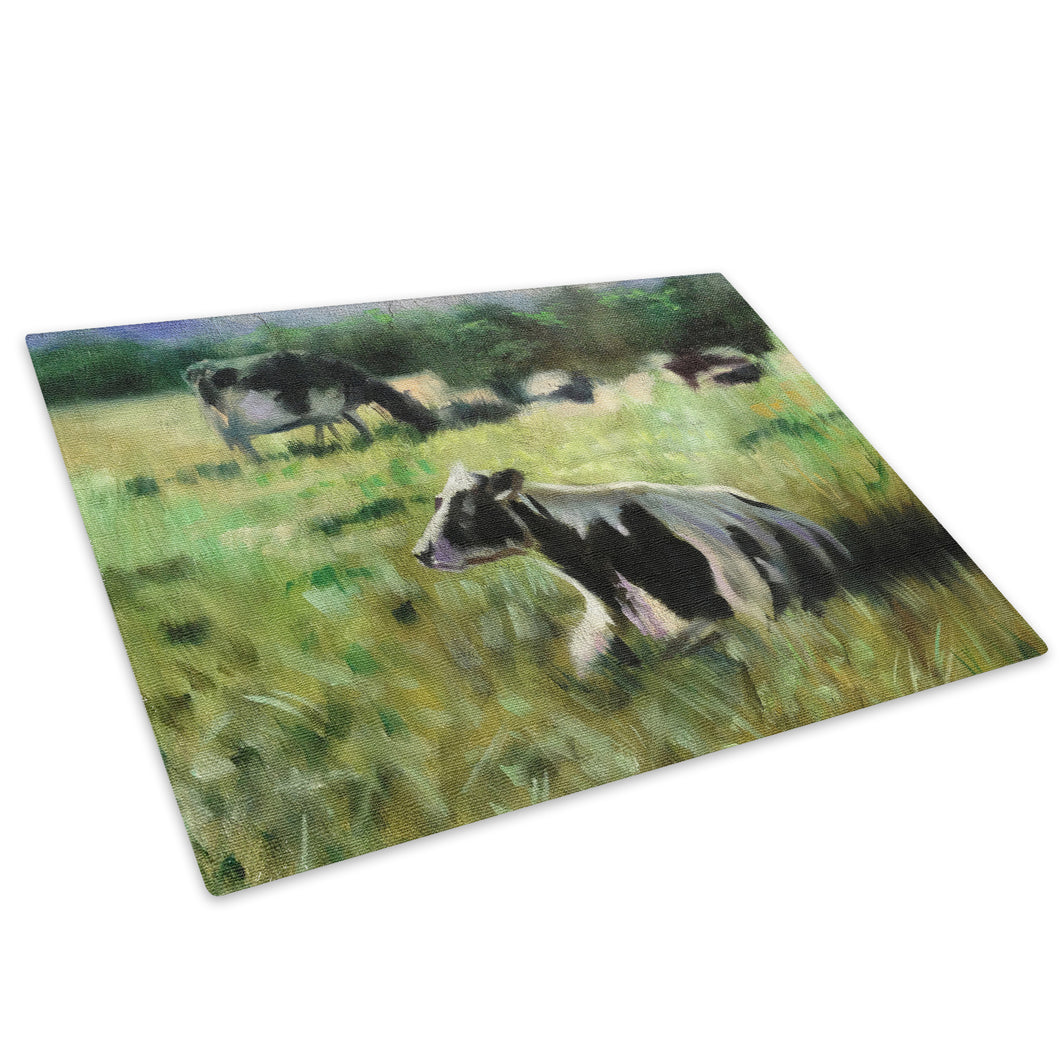 Brown White Green Cows Glass Chopping Board Kitchen Worktop Saver Protector - A650-Animal Chopping Board-WhatsOnYourWall