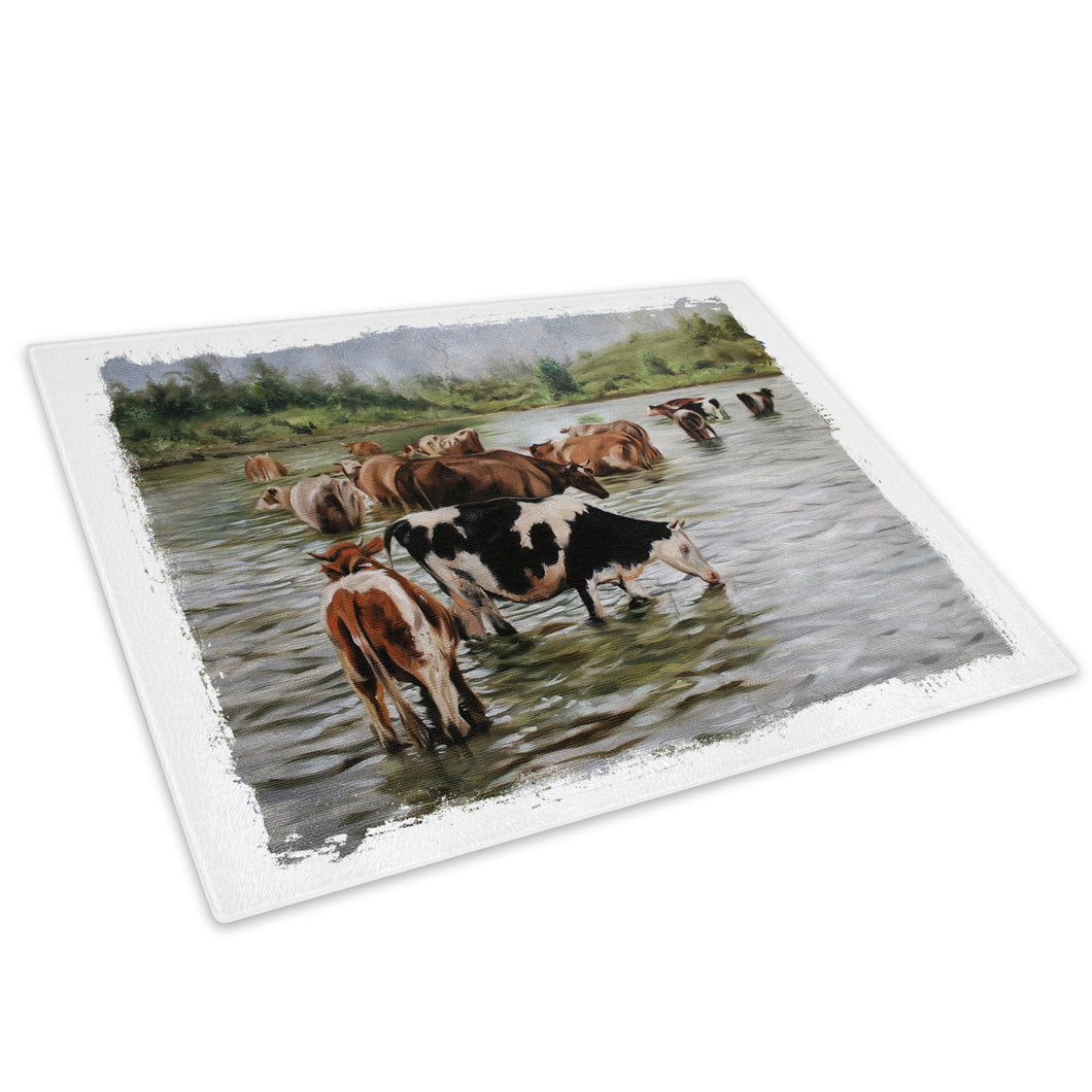 Brown White Green Cows Glass Chopping Board Kitchen Worktop Saver Protector - A651-Animal Chopping Board-WhatsOnYourWall