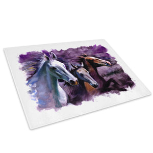 Purple Horse Watercolour Glass Chopping Board Kitchen Worktop Saver Protector - A660-Animal Chopping Board-WhatsOnYourWall