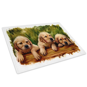 Brown Puppies Cute Cool Glass Chopping Board Kitchen Worktop Saver Protector - A666-Animal Chopping Board-WhatsOnYourWall