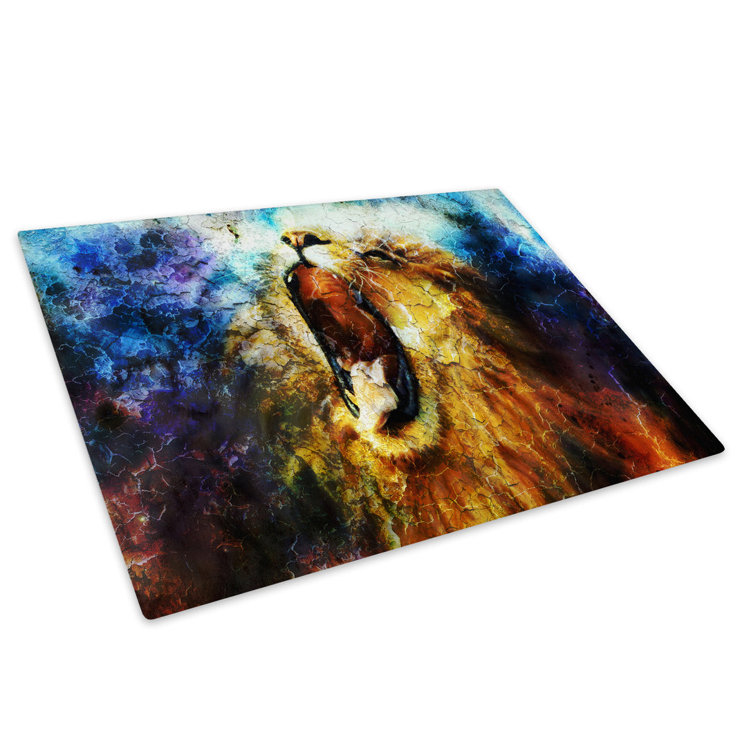 Blue Yellow Lion Orange Glass Chopping Board Kitchen Worktop Saver Protector - A667-Animal Chopping Board-WhatsOnYourWall