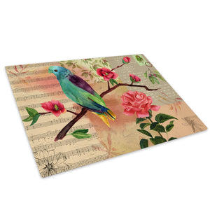 Pink Flowers Blue Bird Glass Chopping Board Kitchen Worktop Saver Protector - A675
