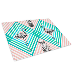 Blue Stripe Flamingo Pink Glass Chopping Board Kitchen Worktop Saver Protector - A677-Animal Chopping Board-WhatsOnYourWall
