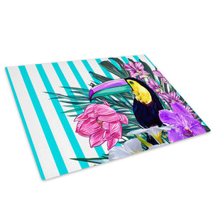 Blue Purple Toucan Flowers Glass Chopping Board Kitchen Worktop Saver Protector - A678-Animal Chopping Board-WhatsOnYourWall