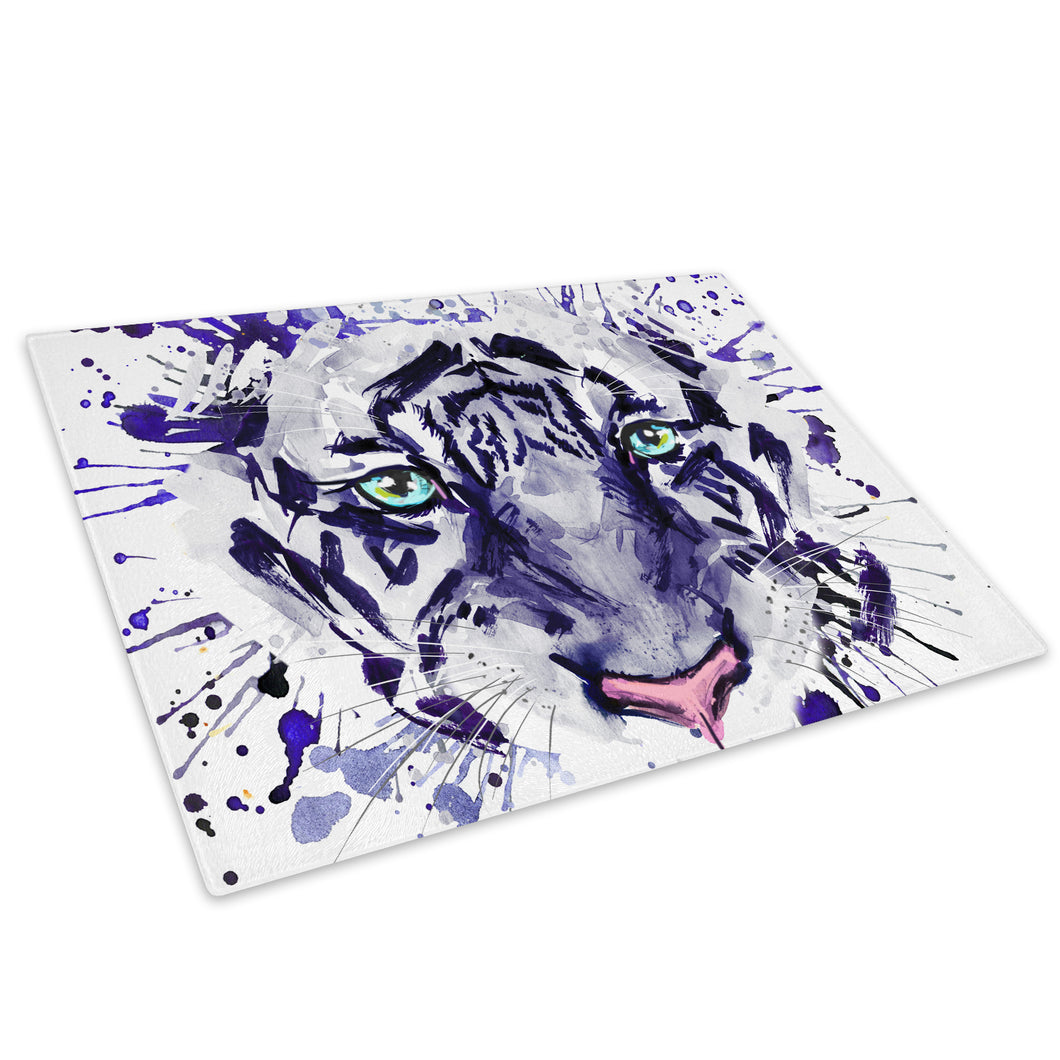Purple Watercolour Tiger  Glass Chopping Board Kitchen Worktop Saver Protector - A680