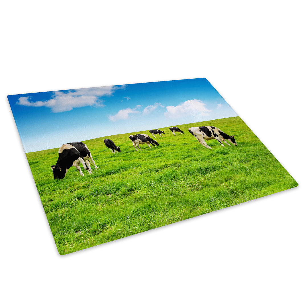 Green Field Blue Black Cow Glass Chopping Board Kitchen Worktop Saver Protector - A681-Animal Chopping Board-WhatsOnYourWall