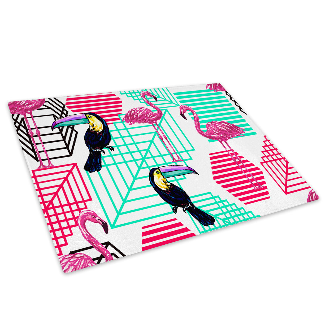Pink Blue Flamingo Toucan Glass Chopping Board Kitchen Worktop Saver Protector - A684