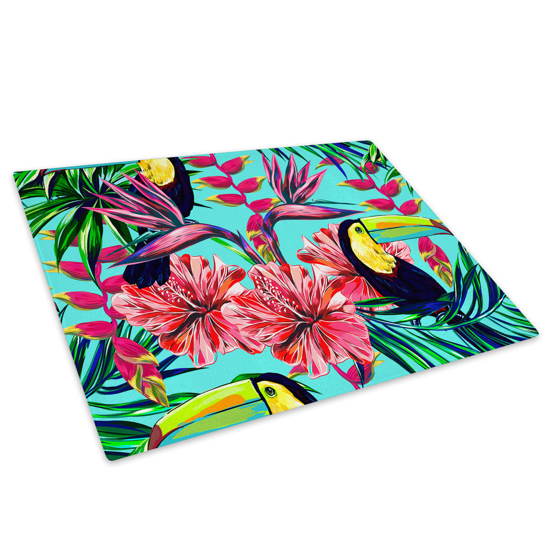 Blue Floral Toucan Pattern Glass Chopping Board Kitchen Worktop Saver Protector - A686-Animal Chopping Board-WhatsOnYourWall