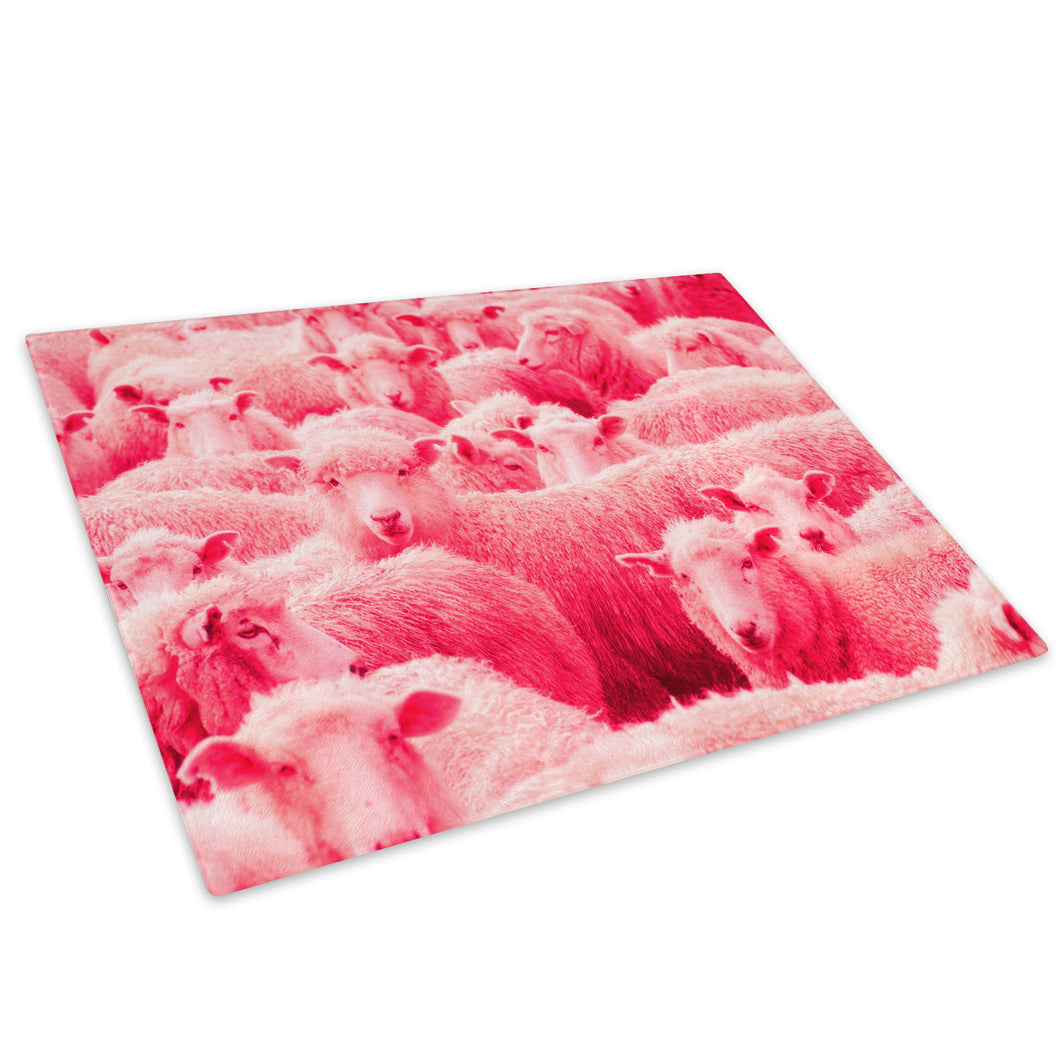 Pink Abstract Sheep Farm Glass Chopping Board Kitchen Worktop Saver Protector - A693-Animal Chopping Board-WhatsOnYourWall