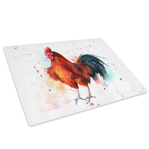 Brown Chicken Watercolour Glass Chopping Board Kitchen Worktop Saver Protector - A695-Animal Chopping Board-WhatsOnYourWall