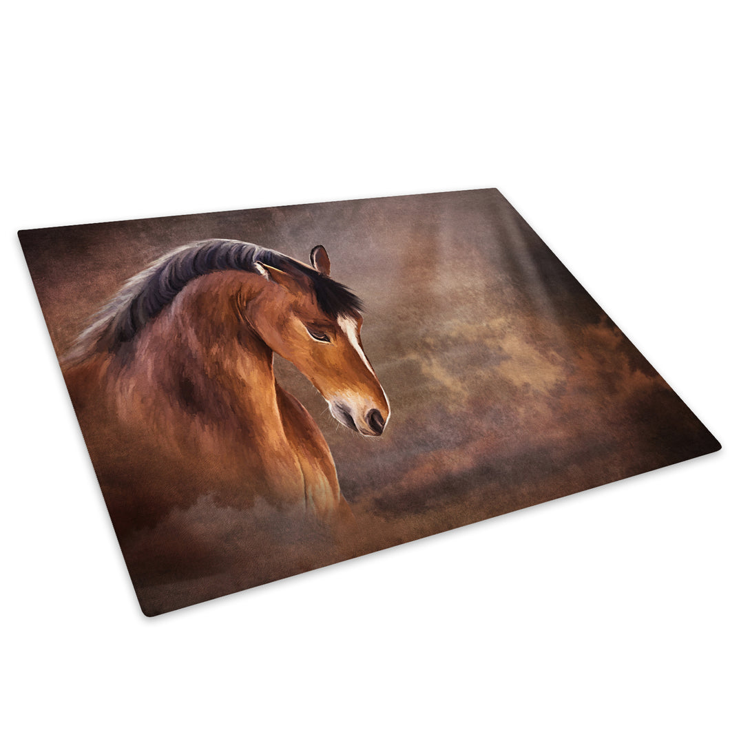 Brown Horse Black Yellow Glass Chopping Board Kitchen Worktop Saver Protector - A709-Animal Chopping Board-WhatsOnYourWall