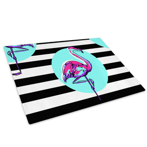 Blue Pink Flamingo Green Glass Chopping Board Kitchen Worktop Saver Protector - A710